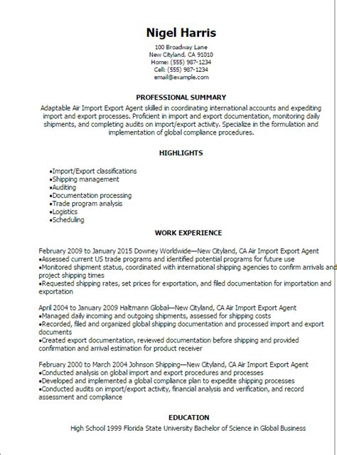 Import Export Sle Resume by Air Import Export Resume Template Best Design Tips Myperfectresume
