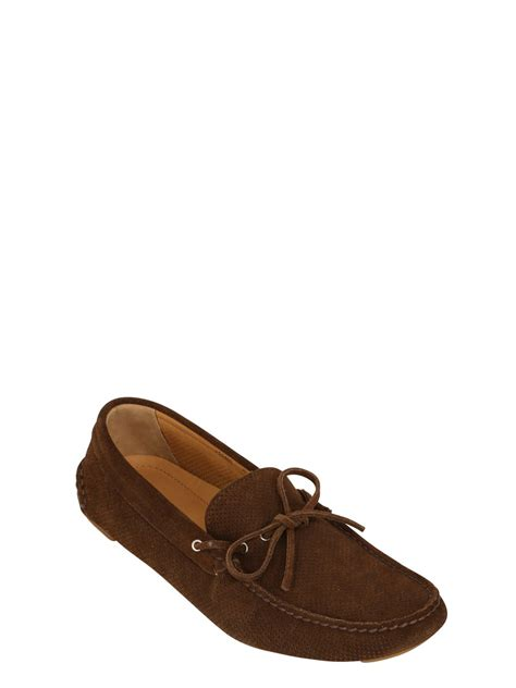 armani loafers giorgio armani perforated suede driver loafers in brown