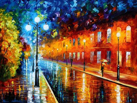 paintings with lights blue lights palette knife painting on canvas by