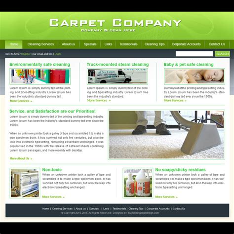Carpet Cleaning Company Website Template Design Psd For Sale Carpet Cleaning Website Template