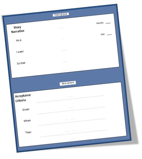 user story card template better projects user story template