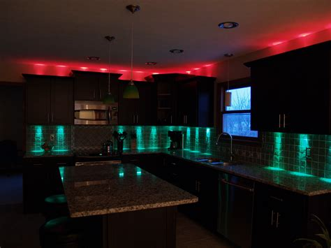home lighting decoration kitchen led lighting ideas with red light over the haammss