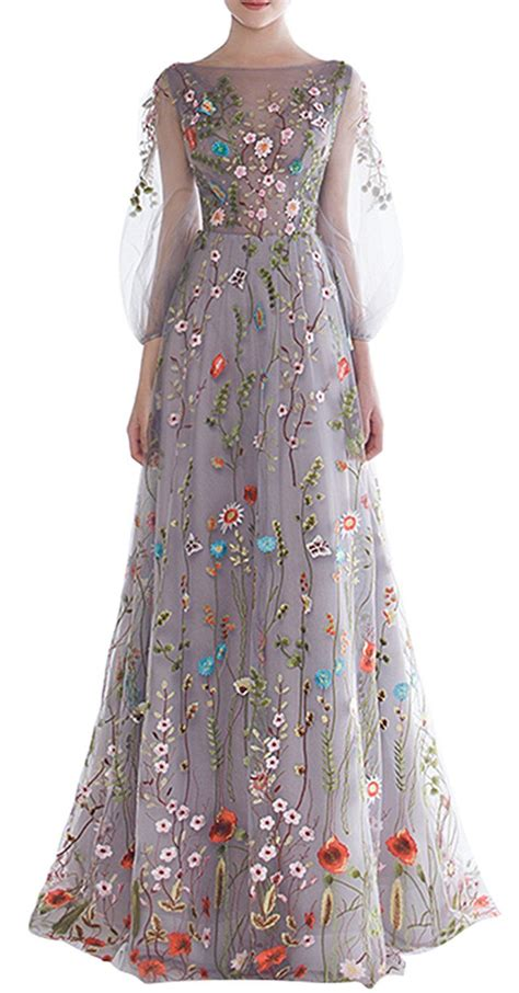Flowers Embroidery Dress ethel s zipper back floral embroidery