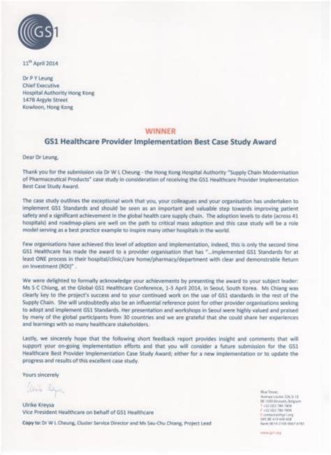 Thank You Letter For Healthcare Hpac Award Winners Gs1