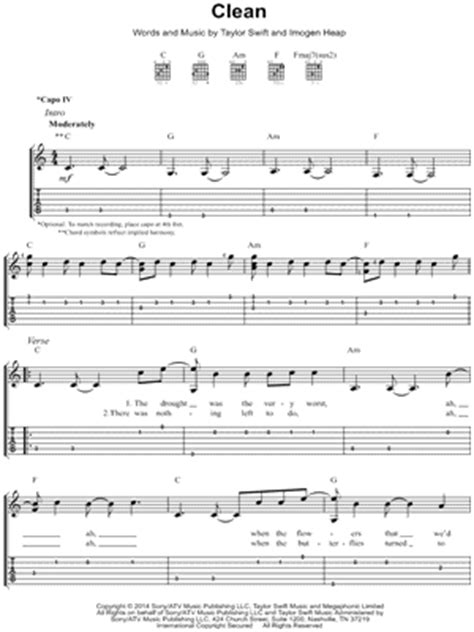 clean taylor swift lyrics chords taylor swift quot clean quot guitar tab download print