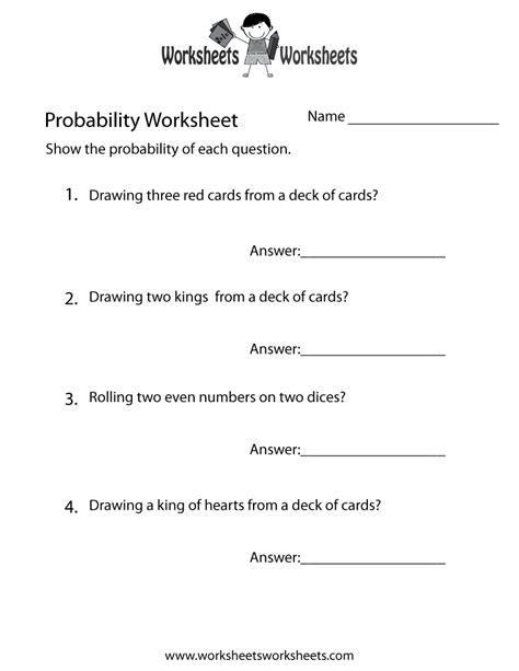 Probability Practice Worksheet