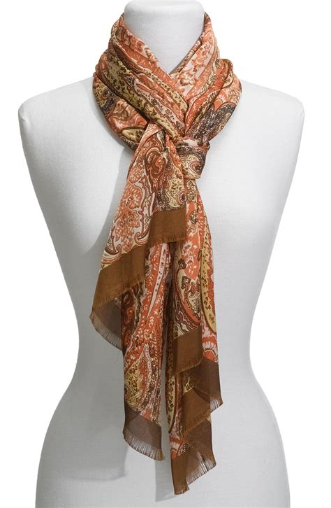 echo paisley scarf in brown lyst