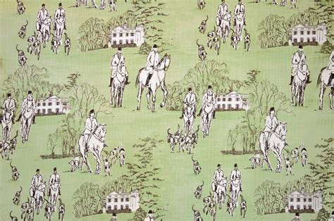 Equestrian Upholstery Fabric Horse Hunt Equestrian Toile Fabric Standard Cut