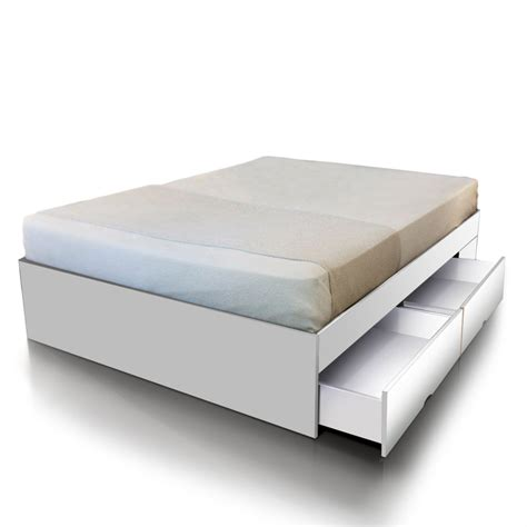 size bed base with storage drawers in white buy