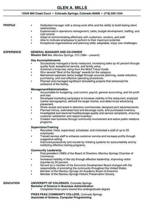 Management Resume Templates by Restaurant Manager Resume Exle