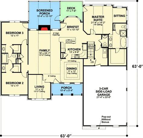 brick ranch house plan 68011hr 1st floor master suite 2492 best images about floor plans on pinterest house