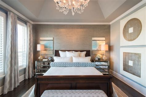 Exquisite contemporary bedroom white trim ceiling decoratively vaulted tray ceiling white