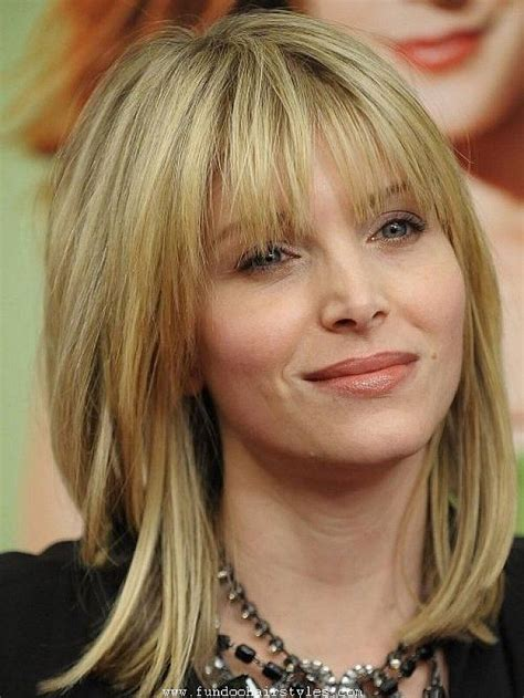 medium straight hairstyles with bangs shoulder length layered bob hairstyles with bangs for