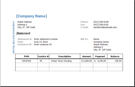 billing statement template excel invoice templates