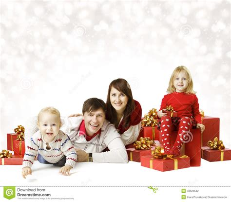 Family Natal I Do family portrait kid and baby with new year present stock photo image of year