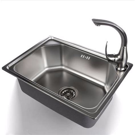 Kitchen Sink Stainless Steel 50c 520 380 190mm 304 stainless steel single bowl kitchen sink scrub with stainless steel