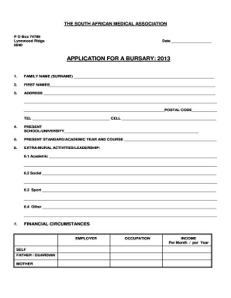 bursary application letter south africa fillable samedical bursary bapplication formbpdf
