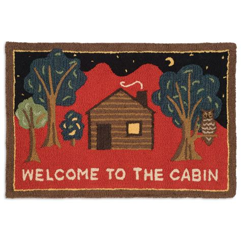 Welcome Rug by Welcome To The Cabin On Hooked Wool Accent Rug