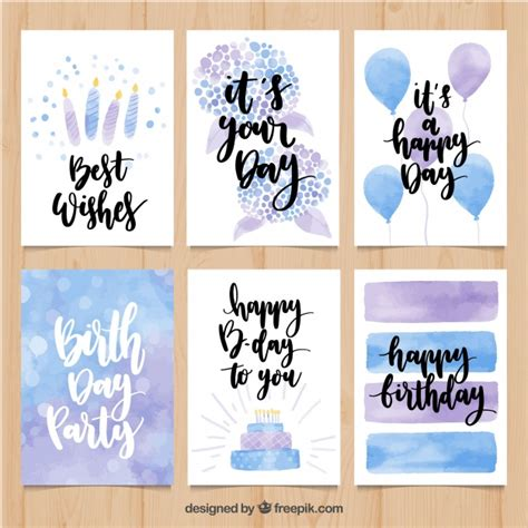 Watercolor Birthday Card Watercolor Birthday Card Pack Vector Free Download