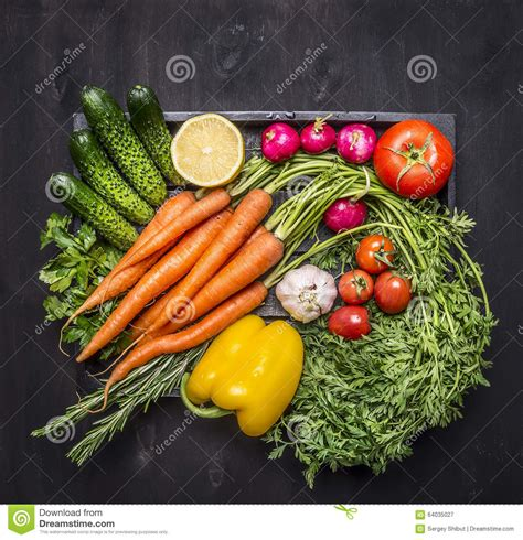 colorful vegetables colorful various of organic farm vegetables in a wooden