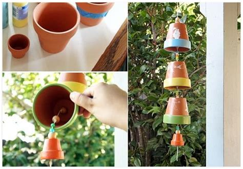clay pot crafts for the garden diy wind chime for the garden made of terracotta pots