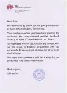 Thank You Letter After Sales Meeting paul renaud keynote speaker sales amp marketing 360 conference paul
