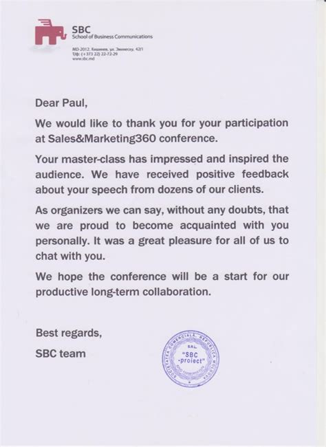 Thank You Letter Keynote Speaker Paul Renaud Keynote Speaker Sales Marketing 360 Conference Paul Renaud