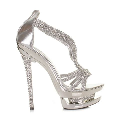 details about womens platform high heel diamante silver