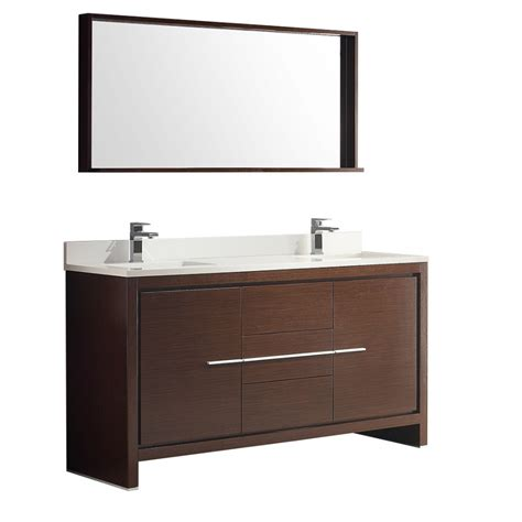60 inch sink bath vanity in wenge brown with