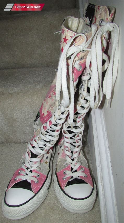thigh high converse lace up sneakers converse all chuck knee high patchwork boot
