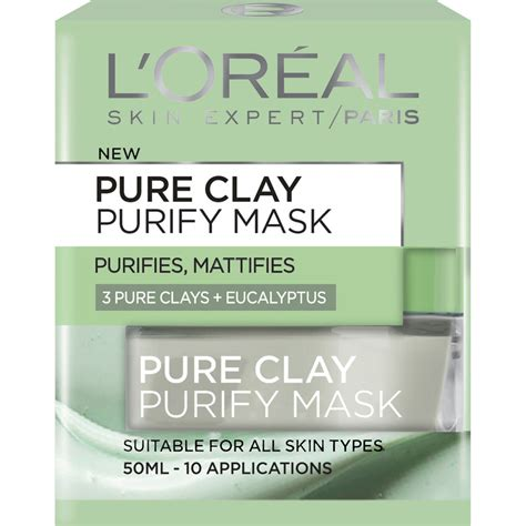 Loreal Clay Mask Purify l or 233 al skin cleansing clay purify mask 50 ml