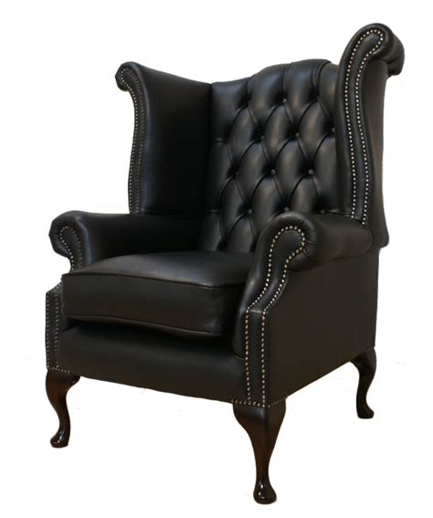 leather winged armchair chesterfield queen anne high back fireside wing armchair