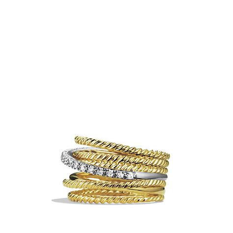 david yurman crossover wide ring with diamonds in 18k gold