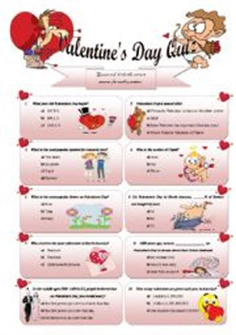 valentines day trivia questions choice teaching worksheets 180 s day