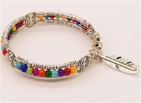 silver and multi colored beaded bracelet