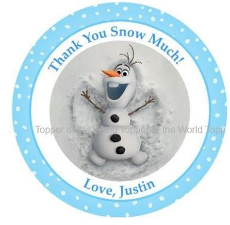 free printable olaf thank you 12 olaf personalized disney frozen birthday party favor
