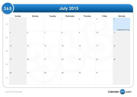 Calendar 2015 July July 2015 Calendar