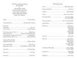 Ceremony Program Template by Free Wedding Program Templates No Cover Wedding