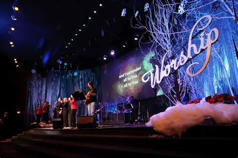 best xmas stage decoration frosty forestry church stage design ideas