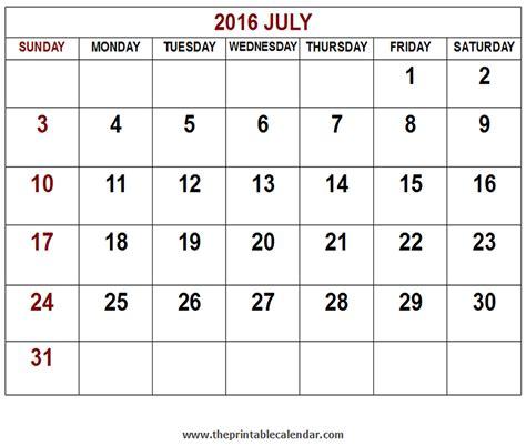 Calendar Printable 2016 July Printable 2016 July Calendar