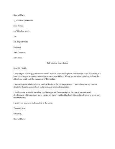 official medical leave letter examples examples