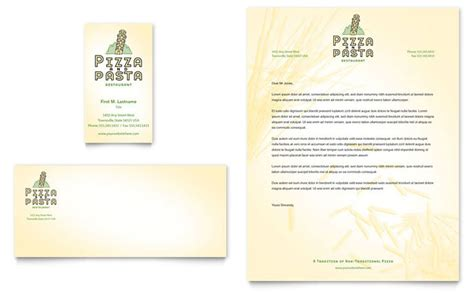 Restaurant Letterhead Templates Free by Italian Pasta Restaurant Business Card Letterhead
