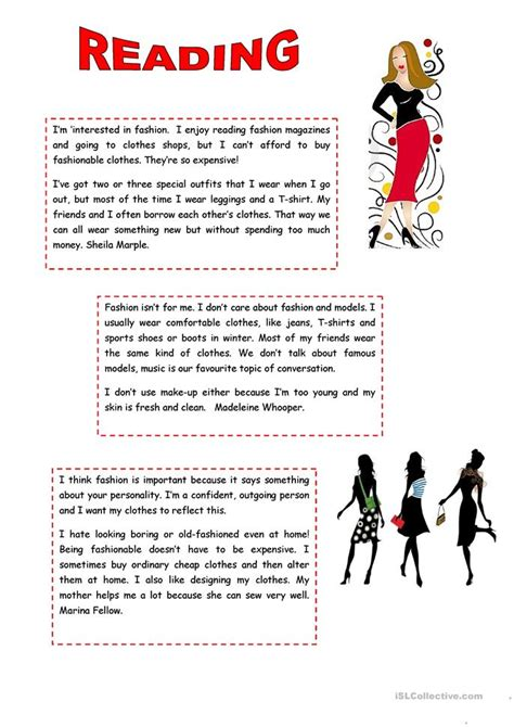 Reading Is Fashionable by Reading Fashion Worksheet Free Esl Printable Worksheets