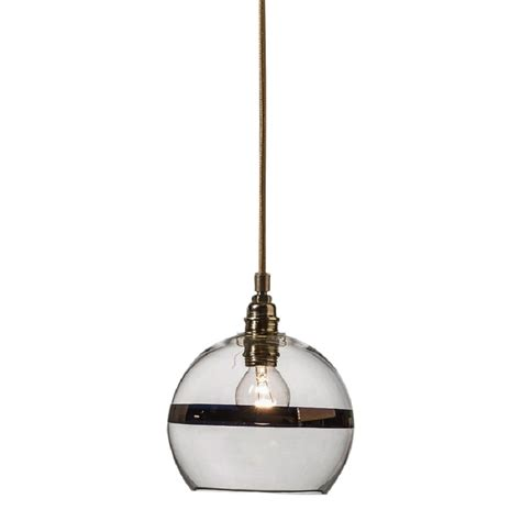clear glass ceiling pendant light with copper stripe mini