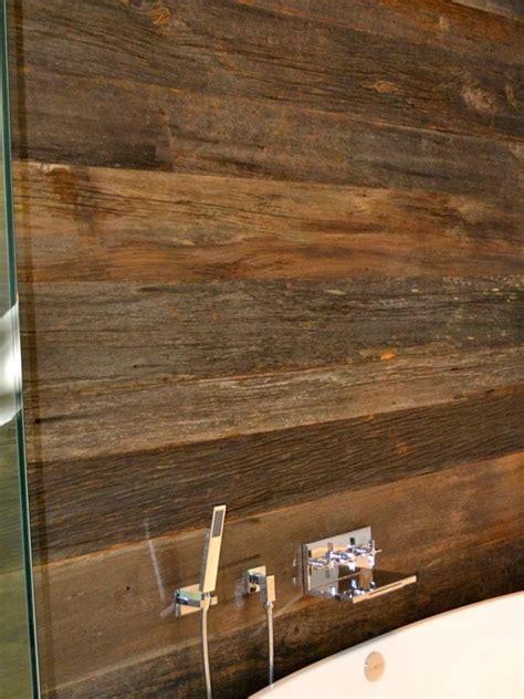 reclaimed wood wall bathroom divider vanity