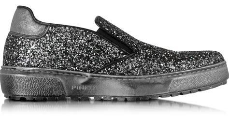 harbolnas slip on gucchi marun ar01 pinko marin gunmetal glitter slip on sneaker in metallic