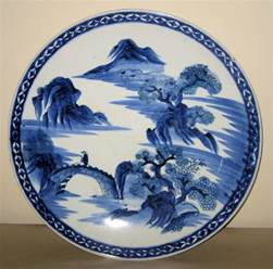 blue white porcelain charger from