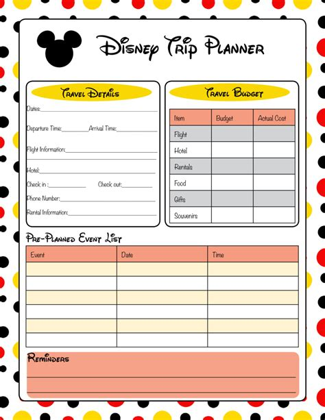 printable travel planner pages get ready for your disney vacation free printable disney