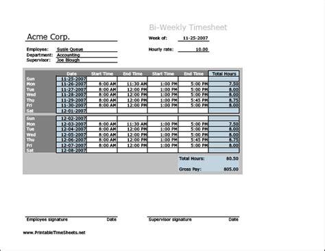 bi weekly time card template document sle biweekly timesheet horizontal orientation printable time