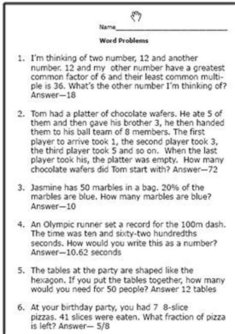 6th grade math word problems